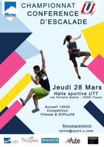 Reims : Championnat Conférence d'Escalade @ Halle Sportive UTT  | Rosières-prés-Troyes | Grand Est | France
